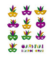 carnival mardi gras set of colorful mask with vector image vector image