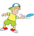 Cartoon boy throwing a flying disc vector image vector image