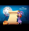 cartoon little witch hugging black cat with hallow vector image vector image