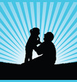 child silhouette with dad happy in nature vector image vector image