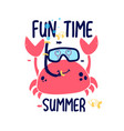 crab print design with slogan vector image vector image