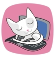 Cute Cat On Laptop vector image