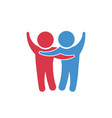 friendship between people holding each other vector image vector image