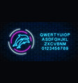 glowing neon sign of two jumping dolphins in vector image