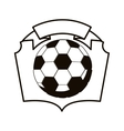 gray scale emblem with soccer ball vector image vector image