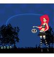 Halloween witch standing with pumpkins vector image vector image