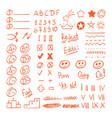 handdrawn red pen test result marks set vector image vector image