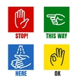 Hands signs icons vector image vector image