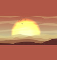 hot yellow and orange desert panoramic landscape vector image