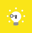 icon concept of key unlock glowing light bulb vector image vector image
