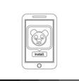 icon of smart phone mobile panda application vector image vector image