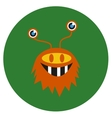 isolated cute cartoon alien monster on a green vector image vector image