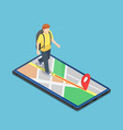 isometric traveller use map application on the vector image