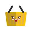 kawaii shopping basket icon vector image