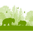 landscape with two bears vector image vector image
