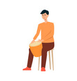 man sitting on chair and playing on drum cartoon vector image vector image