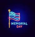 memorial day neon label vector image vector image