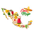 mexican map with cinco de mayo holiday symbols vector image vector image