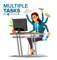 multiple tasks business woman many hands vector image vector image