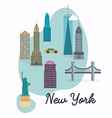 new york city travel map and landscape of vector image vector image