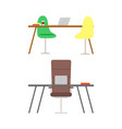 office furniture desktop and chair laptop vector image