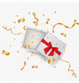 open 3d realistic gift box with red ribbon and vector image