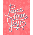 Peace love joy Christmas lettering quote vector image