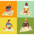 people cooking at kitchen table and stove vector image vector image