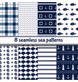 set sea backgrounds in dark blue and white vector image
