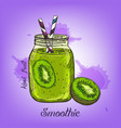 sketch kiwi smoothie in glass bottle vector image