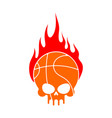 skull basketball and fire ball is head of vector image vector image