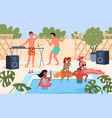 summer pool party people in swimsuit listen vector image vector image