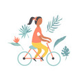 summer poster with pretty girl riding bicycle vector image vector image