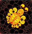 The graphic pattern of gold with red spider web on vector image vector image