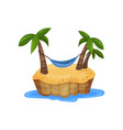 tropical island and hammock among palm trees vector image