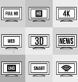 TV icons set Screen and television display and vector image