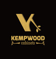 unique initial letter k woods logo vector image vector image