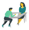 woman and teenager doing homework at table mother vector image vector image