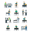 Woodworking Carpenter Service Flat Icons vector image
