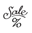 word sale with sign interest lettering vector image