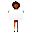 African american woman holding sign or banner vector image