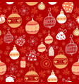seamless pattern with christmas balls on red vector image