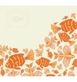 Abstract template for greeting card with fishes vector image vector image