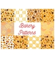 Bakery pattern set of bread products and desserts vector image