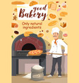 bakery shop baker with pizza vector image vector image