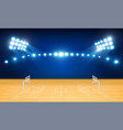 basketball arena field with bright stadium lights vector image vector image