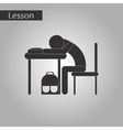 black and white style icon of student sleeping at vector image vector image