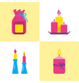 bright candle icons set in flat style vector image vector image