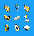 business and education - isometric icons vector image