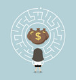 businesswoman wanting to enter a money maze vector image vector image